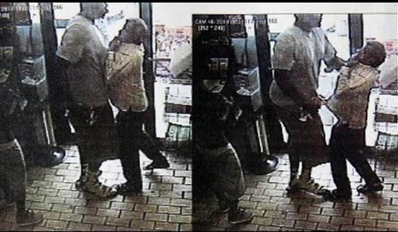 """Ujęcie z kamery CCTV ukazujące, jak """"niewinny czarny nastolatek"""" Michael Brown dusi właściciela sklepu"""